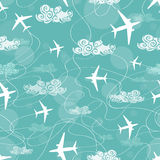 Seamless pattern of airplanes flying in the sky. Seamless pattern of white airplanes flying in the sky vector illustration