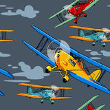 Seamless pattern with airplanes. Raster seamless pattern with retro airplanes vector illustration