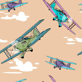 Seamless pattern with  airplanes Stock Image