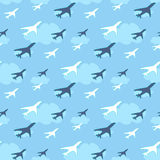 Seamless pattern with airplanes on sky background vector illustration. Seamless pattern with airplanes on sky background - vector illustration vector illustration