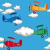 Seamless airplane pattern Stock Photo
