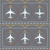 Seamless pattern with airplanes on the terminal apron vector illustration