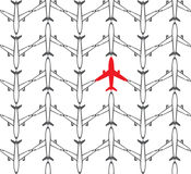 Seamless pattern airplanes - vector Stock Image