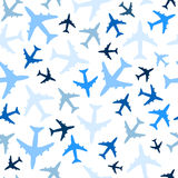 Seamless pattern with airplanes on white background. Vector. Stock Photography