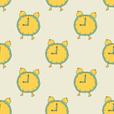 Seamless pattern: Alarm Clock. On a light background. 9:00 on the clock Stock Photo