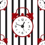 A seamless pattern with alarm clock and stripe lines. vector illustration