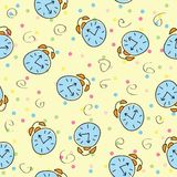 Seamless pattern with the alarm clock Stock Photos