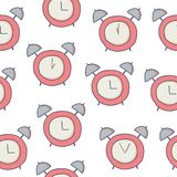 Doodle seamless pattern with alarm clock on white stock illustration