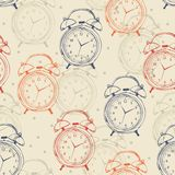 Seamless pattern with alarm clocks in vintage royalty free illustration