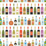 Seamless pattern with alcohol bottles Royalty Free Stock Image