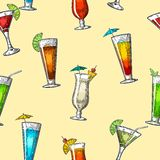 Seamless pattern alcohol cocktail set. Vintage  engraving illustration for web, poster, menu, invitation to summer beach par Stock Photography