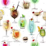 Seamless pattern with alcohol cocktails Stock Images