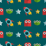 Seamless pattern with aliens and rockets Stock Photos