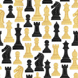 Seamless pattern with all chess pieces. Stock Photo