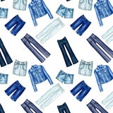 Seamless Pattern - All over - Background with different denim and jeans clothes Royalty Free Stock Photos