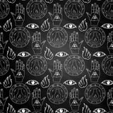 Seamless pattern all seeing eye on chalkboard. Seamless pattern all seeing eye, the hand and the alchemical flask on a white background on chalkboard Royalty Free Stock Image
