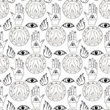 Seamless pattern all seeing eye. The hand and the alchemical flask on a white background Royalty Free Stock Photos