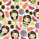 Seamless pattern of aloha girl and summer elements on striped background vector cartoon Royalty Free Stock Photography