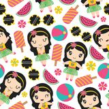 Seamless pattern of aloha girl and summer elements vector cartoon illustration Stock Photo