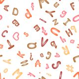 Seamless pattern with an alphabet of modeling clay. Wallpaper or textile. Royalty Free Stock Photos