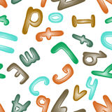 Seamless pattern with the alphabet. Plasticine letters for children. Wallpaper or textile. Stock Images