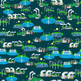 Seamless pattern alternative energy green power, environment save, renewable turbine energy, wind and solar ecology Stock Images