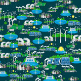 Seamless pattern alternative energy green power, environment save, renewable turbine energy, wind and solar ecology Royalty Free Stock Photography