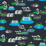 Seamless pattern alternative energy green power, environment save, renewable turbine energy, wind and solar ecology Stock Photos