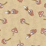 Seamless  pattern of amanita Stock Images