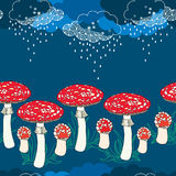Seamless pattern with amanita mushrooms and rainy clouds Royalty Free Stock Photo