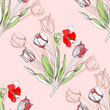 Seamless pattern  with amaryllis and tulip-05 Stock Photography