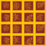 Seamless pattern with American Indians relics dingbats characters Royalty Free Stock Images