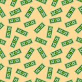 Seamless Pattern with American Money Dollars Bank Notes on yellow background. Dollar bill. Flat design Vector Royalty Free Stock Image