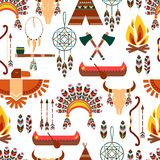 Seamless Pattern American Tribal Native Symbols Royalty Free Stock Photos
