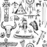 Seamless Pattern American Tribal Native Symbols Royalty Free Stock Photos
