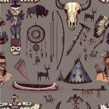 Seamless Pattern American Tribal Native Symbols Stock Photography