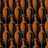 Seamless pattern with amphora. Vector seamless pattern with ancient amphora Royalty Free Stock Photo