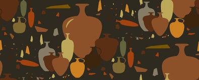 Seamless pattern. amphoras and ceramic vessels. Israeli archaeological amphoras and ceramic vessels vector illustration