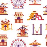 Seamless pattern amusement park with carousels, waterslides, balloons, inflatable trampoline castle, ferris wheel. Mobile kiosk with sweets, catapult isolated vector illustration