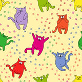 Seamless pattern with amusing cats. Amusing color cats with traces of paws on seamless vector pattern Stock Photography