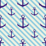 Seamless pattern with anchor on background and diagonal stripes. Stock Images