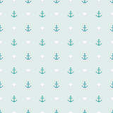 Seamless pattern of anchor and hearts. Stock Image