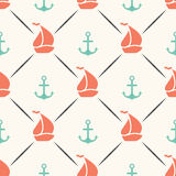Seamless  pattern of anchor, sailboat shape in Royalty Free Stock Image