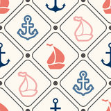 Seamless  pattern of anchor, sailboat shape in Royalty Free Stock Photo