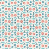 Seamless pattern of anchor, wheel, dolphin and. Seashell. Use to create quilting patches or seamless backgrounds for various craft projects. Marine symbol.  Sea Royalty Free Stock Images
