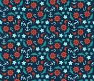Seamless pattern of anchor, wheel, dolphins and Stock Photography