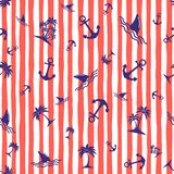 Seamless pattern with anchors. Background in marine style. Vector illustration stock image