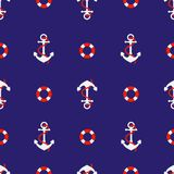 Seamless pattern with anchors. Background in marine style. Vector illustration. stock photo