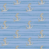 Seamless pattern with anchors. On blue background Royalty Free Stock Image