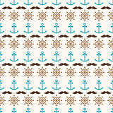 Seamless pattern of anchors, hand wheels and mustache Royalty Free Stock Photo